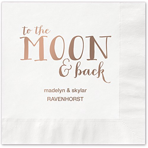 Moon and Back Personalized Beverage Cocktail Napkins - Canopy Street - 100 Custom Printed White Paper Napkins with choice of foil stamp (5857B)