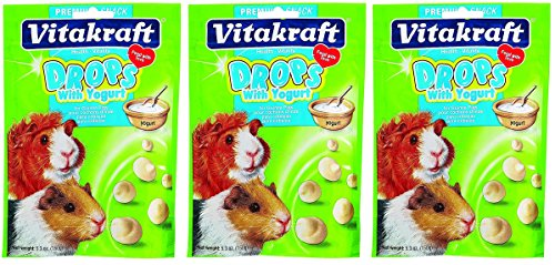 (3 Pack) Vitakraft Guinea Pig Drops with Yogurt Treat (5.3 oz per pack)