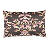 ALAZA Vintage Antique 3D Damask Flower Leaf Cotton Lint Pillow Case,Double-sided Printing Home Decor Pillowcase Size 16''x24'',for Bedroom Women Girl Boy