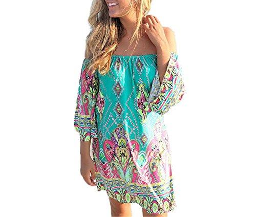LONGTOU Women Vintage Fashion Summer Sundress Beach Tunic Hippie Boho Chic Robe Femme - Hippie Vintage Tunic