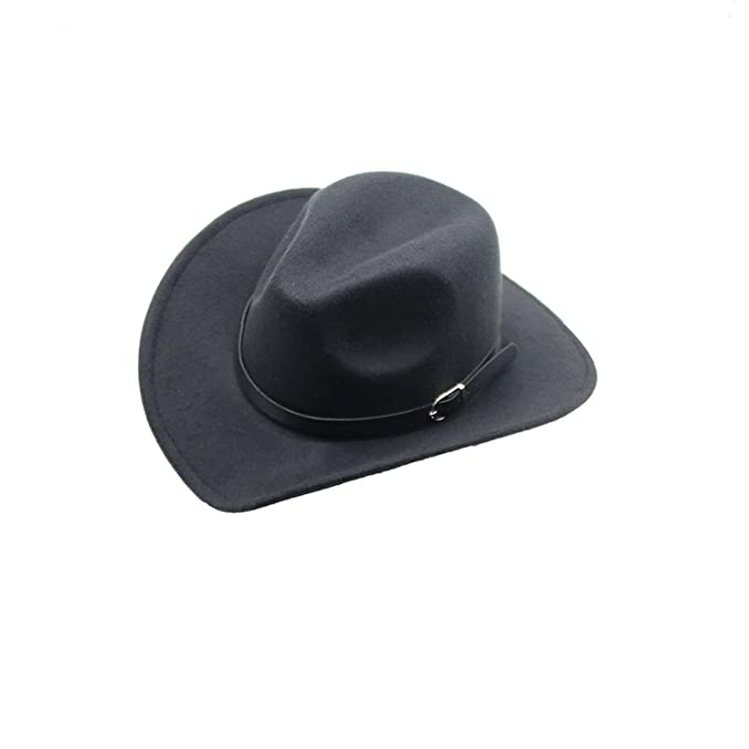 f37111299ab Image Unavailable. Image not available for. Color  HEWPASKE Boys Girl Wide  Brim Country Western Leather Hat Fedora Trilby Wool ...