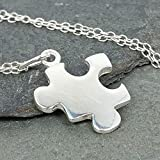 Puzzle Piece Charm Necklace - 925 Sterling Silver, 18'