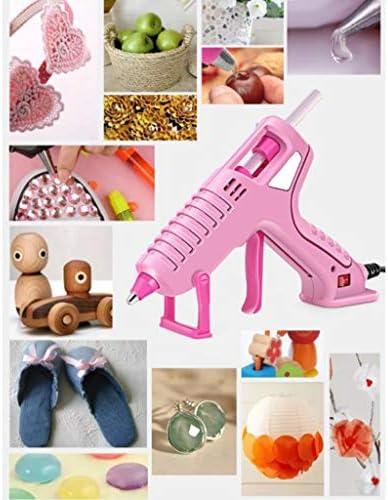 Xing zhe ホットグルーガン、30と60W高温ヘビーデューティーグルーガンキット、60、90本のスティックのり、抗火傷スリーブ、迅速な修復に適し、木工、クリスマスの飾り、ピンク 贈り物 (Color : A)