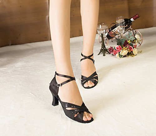 Taogo Dance Satin Sandals High Womens Black Latin Wedding Heel TH120 Ballroom Minishion w78zqHS1WW