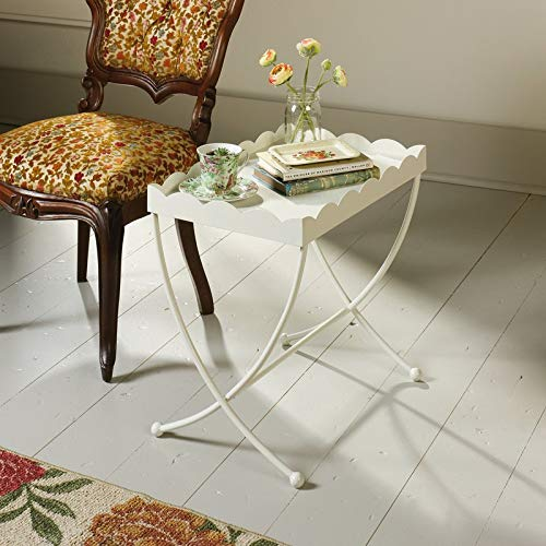 Metal End Table with Scalloped Edges - End Table with Tray Top - (Scalloped Side Table)