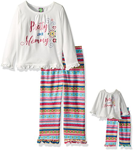 Dollie & Me Little Girls' 2 Piece Graphic Sleepwear Set with Matching 18 inch Doll Outfit, White/Multi Pretty, (Mommy And Me Matching Pajamas)