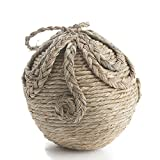Factory Direct Craft Set of 2 Natural Braided Straw Ball Ornaments