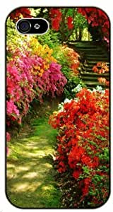 Red flowers path - iPhone 5C black plastic case / Flowers and Nature, floral, flower, garden