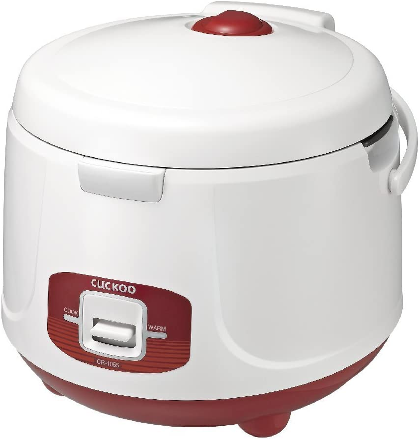 Cuckoo CR-1055 Basic Electric Rice Cooker & Warmer 10 Cups, Rice Spatula, Drain Dish, Detachable Lid, Non-Stick Coated Aluminum Inner Pot, Red/White