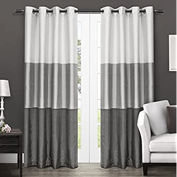 This Item Exclusive Home Curtains Chateau Striped Faux Silk Grommet Top Window  Curtain Panel Pair, Black Pearl, 54x84