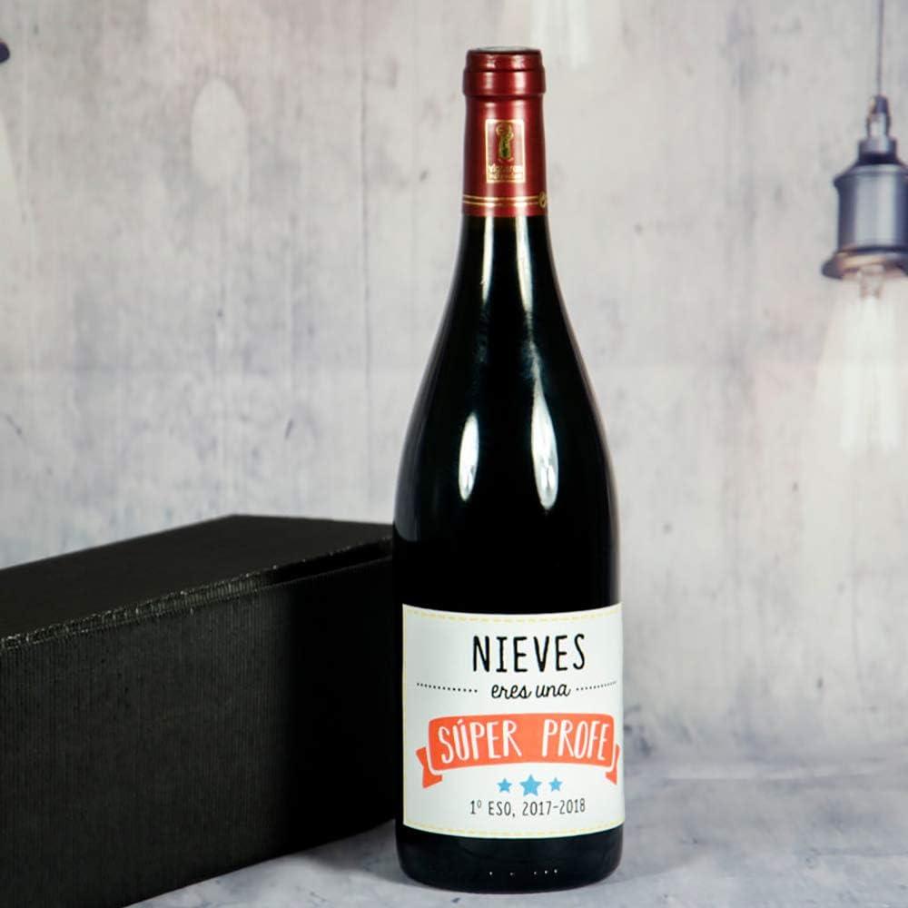 Calledelregalo Regalo Personalizado para Profesores y profesoras: Botella de Vino Súper Profe Personalizable con Nombre y dedicatoria (Súper profes): Amazon.es: Hogar