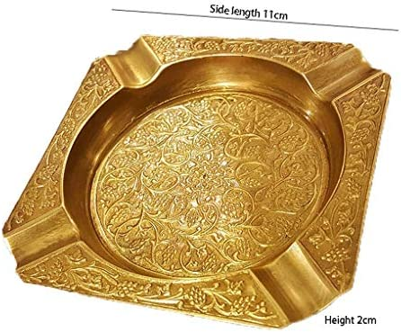 SRX 灰皿オフィスデスクトップアート装飾品純銅製手作りのシガー灰皿家庭用大型灰皿(カラー:ゴールド)