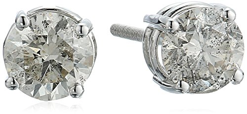 AGS Certified 14k White Gold Round-Cut Diamond Stud Earrings (1cttw, J-K Color, I2-I3 Clarity)