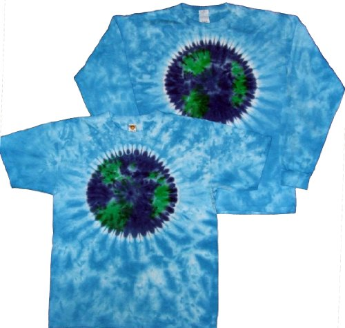 Tie Dyed Shop Planet Earth Day on Sky Blue Tie Dye T Shirt Shortsleeve-Large-Multicolored (Tie Dye Sky Blue)