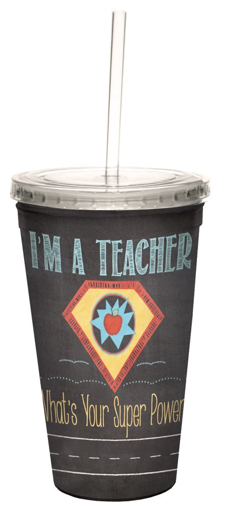 Teacher Super Power Double-Walled Cool Travel Cup with Reusable Straw, 16-Ounce - Teacher Appreciation Week Thank You Gift - Tree-Free Greetings 98217
