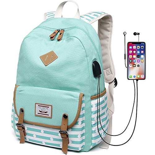 Canvas Travel Laptop Backpacks Girls Women College Backpack School Bag 15 inch USB Daypack Outdoor (619-Mint Green)