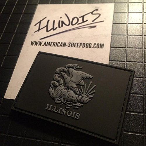 ILLINOIS STATE FLAG PVC PATCH - GHOST EDITION