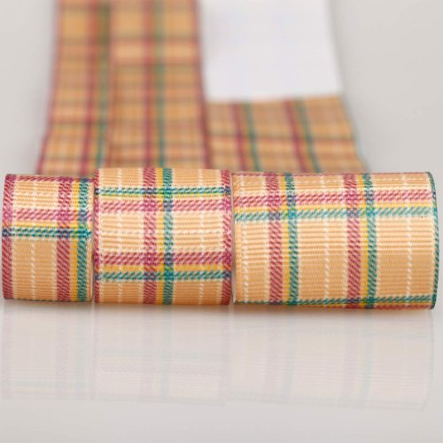 (Neotrims Tartan Check Petersham Grosgrain Ribbon By the Yard, 3 Widths & Colours. Plaid Checks Trimming Ruban; A Modern Look on a traditional Check theme in this Beautifully Soft Polyester Petersham Ribbon printed with a Tonal Check Pattern. 3 Widths, 16mm, 25mm and 38mm, sold as a Set Of all 3 sizes, 3mts each Or 3mts of any one size. Pink, Blue or Light Brick Orange. Unique! Trim It, Decorate, Accessorise.)