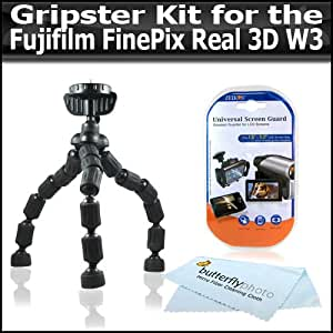 Gripster Kit Includes Flexible Gripster + LCD Clear Screen Protectors For The Fujifilm FinePix Real 3D W3 Digital Camera + ButterflyPhoto Micro Fiber Cleaning Cloth