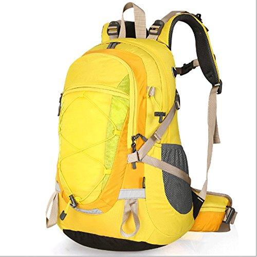 GJ backpacks-旅行バックパックMen and Women高容量on足防水観光アウトドアバックパック  イエロー B07F8FS91P