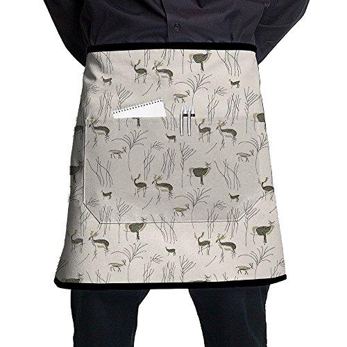 Kjiurhfyheuij Half Short Aprons Deer Zoo Waist Apron With Pockets Kitchen Restaurant For Women Men Server -