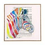 Deny Designs Coco De Paris,  Rainbow Zebra Head, Framed Wall Art, Large, 30'' x 30''