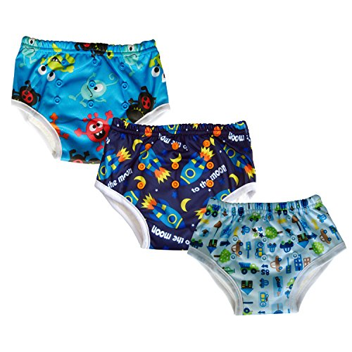 3-pack Potty Training Underwear Pants for Toddler / Bamboo Inner (Spaceship)