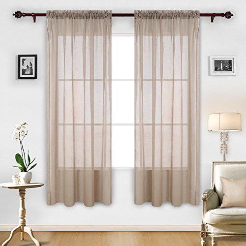 Deconovo Linen Sheer Curtains Rod Pocket voile transparent Curtains for Dedroom 52 X 84 Inch 2 Panels (Curtains 84 Hanging Inch)