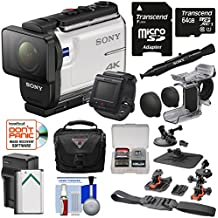 Sony Action Cam FDR-X3000R Wi-Fi GPS 4K HD Video Camera Camcorder & Live View Remote + Finger Grip + Suction Cup + Helmet Mount + 64GB Card + Battery & Charger + Case Kit