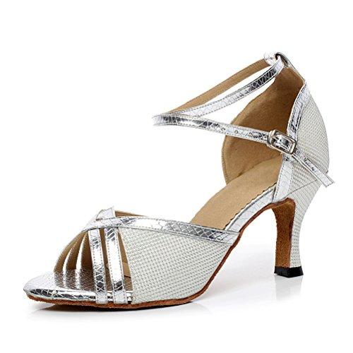 CXS Ladies Open toe Party Wedding Heels Ballroom Dance Shoes for Salsa Tango and Practice, 2.75 Heel Silver