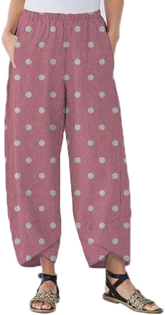 Luckycat Pantalones De Lino para Mujer Pantalón De Verano con ...