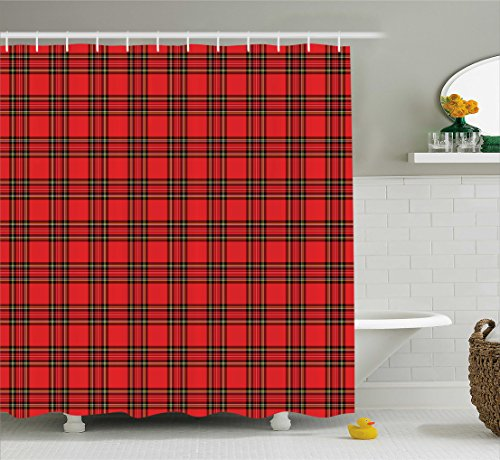 Ambesonne Retro Shower Curtain by, Classical Plaid Pattern Scottish Striped Tartan Traditional Graphic Illustration, Fabric Bathroom Decor Set with Hooks, 70 Inches, Vermilion Black