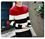 Men's Sweater Knitting Fit Men Pullover Patchwork O-Neck Sweaters Men Pullovers