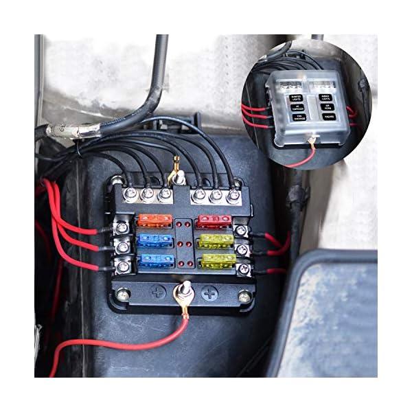 51sjiFkIdcL BlueFire Aufgerüstet 6 FachSicherungshalter, 30A 9-32V Unabhängiger Betrieb KFZSicherungskasten, mit 12PCS Sicherung + LED Warnleuchten für KFZ Auto Wohnmobil Marine Boot Trike