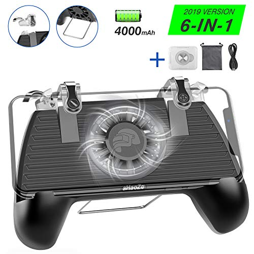 Mobile Game Controller with Portable Charger 4000mAh Cooling Fan for Fortnite PUBG, Phone Controller L1R1 Game Trigger Joystick Gamepad Grip with Phone Support for 4-6.5