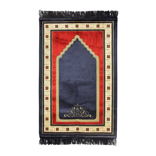 Muslim Prayer Rug Mat 2.3' x 3.6' Blue Tan Gold Red Color with Blue Tassels