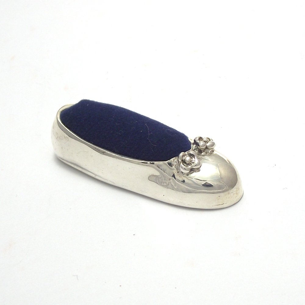 Collectible Mini Pin Cushion Antique Style Sewing tool Ballet Shoes Sterling Silver 925 : Blue by BUASHOP