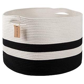 "Numyton XXXL Large Cotton Rope Laundry Basket 22"" x22""x 14"" Woven Basket,Toy Storage Basket, Blankets Basket Nursery Hamper, White Black"
