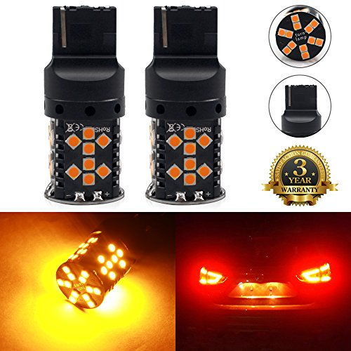 Viesyled 7443 7440 992 T20 LED Bulb 2-pack, Amber Yellow, Extremely Bright, 54-SMD with Projector Lens, 12-24V, Works as Brake Lights, Tail Lights, Turn Signal Blinkers