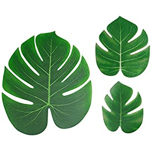 60PCS Artificial Tropical Palm Leaves for Hawaiian Tropical Jungle Luau Party Decorations 96