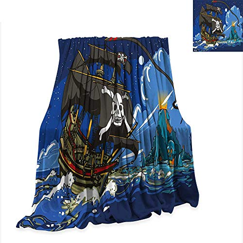 (Fleece Blanket Pirate,Caribbean Waters Adventure Time Volcano with Sea Storm Skull Island Jolly Roger,Multicolor Throw Blanket for Couch W51 x L60)