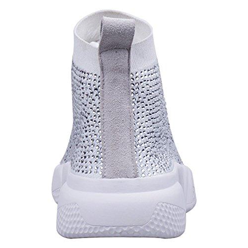 Trainer Glitter Tacones Calzado Sock Rhinestone Mujer Blanco Bling Zapatillas ZAPROMA Walking Sparkly Zaccess Deportivo Brillante Planos OnxU8w7q