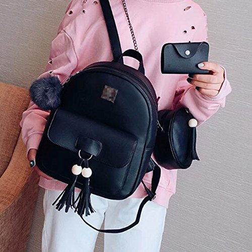 Black Pack Black Casual Tassel Backpack 3 Pu Women Backpack Leather Day Package wxvvI0ZRq