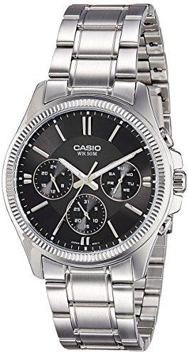 Casio #MTP1375D-1AV Men's Metal Band Fluted Bezel Multifunction Black Dial Watch Date Mens Fluted Bezel