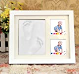 Newborn Baby Handprint and Footprint Picture Frame Kit Keepsake Box for Boys and Girls Personalized Table and Wall Photo Decoration Baby Photo Album For Shower Registry, Personalized Baby Gifts, Keeps
