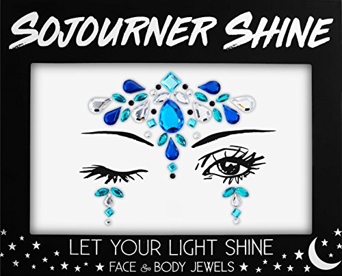 Face Jewels Glitter Gems Rhinestones - Eye Body Jewels Gems | Rhinestone Stickers | Body Glitter Festival Rave & Party Accessories by SoJourner (Sky Queen)