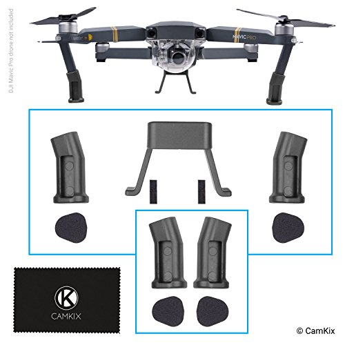 Leg Extensions for DJI Mavic Pro (Grey) – Landing Gear Kit for Extra Height and Safety – Gives Your DJI Drone More Ground Clearance – Protection Pads and Spare Front Legs Included
