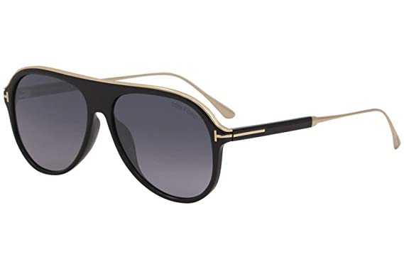 428254a225cc Image Unavailable. Image not available for. Color  Tom Ford FT0624 01C  Shiny Black Nicholai Pilot Sunglasses ...