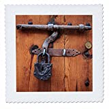 3dRose Danita Delimont - Architecture - Spain, Balearic Islands, Mallorca, door bolt and lock. - 18x18 inch quilt square (qs_277913_7)