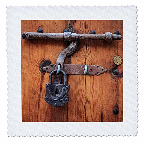 3dRose Danita Delimont - Architecture - Spain, Balearic Islands, Mallorca, door bolt and lock. - 18x18 inch quilt square (qs_277913_7) by 3dRose